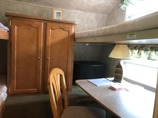 Bunk room with four bunks or three bunks with optional desk area !