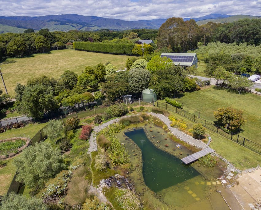 Lovely gardens and a natural swimming pond available for guests