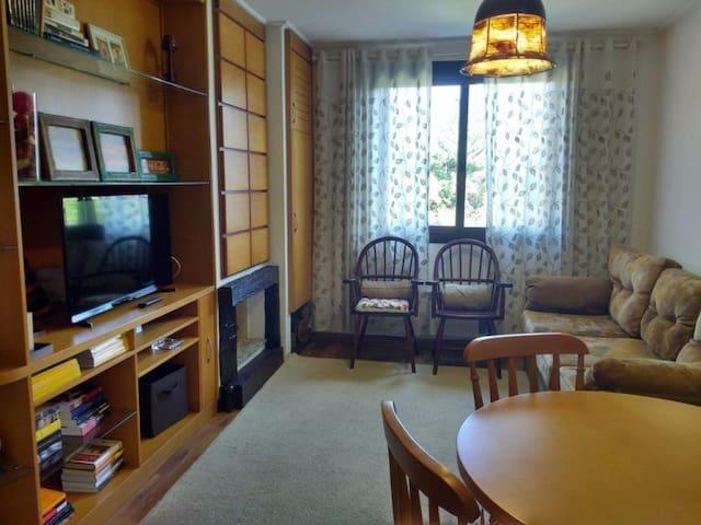 A sala tem sofá-cama que acomoda duas crianças ou um casal