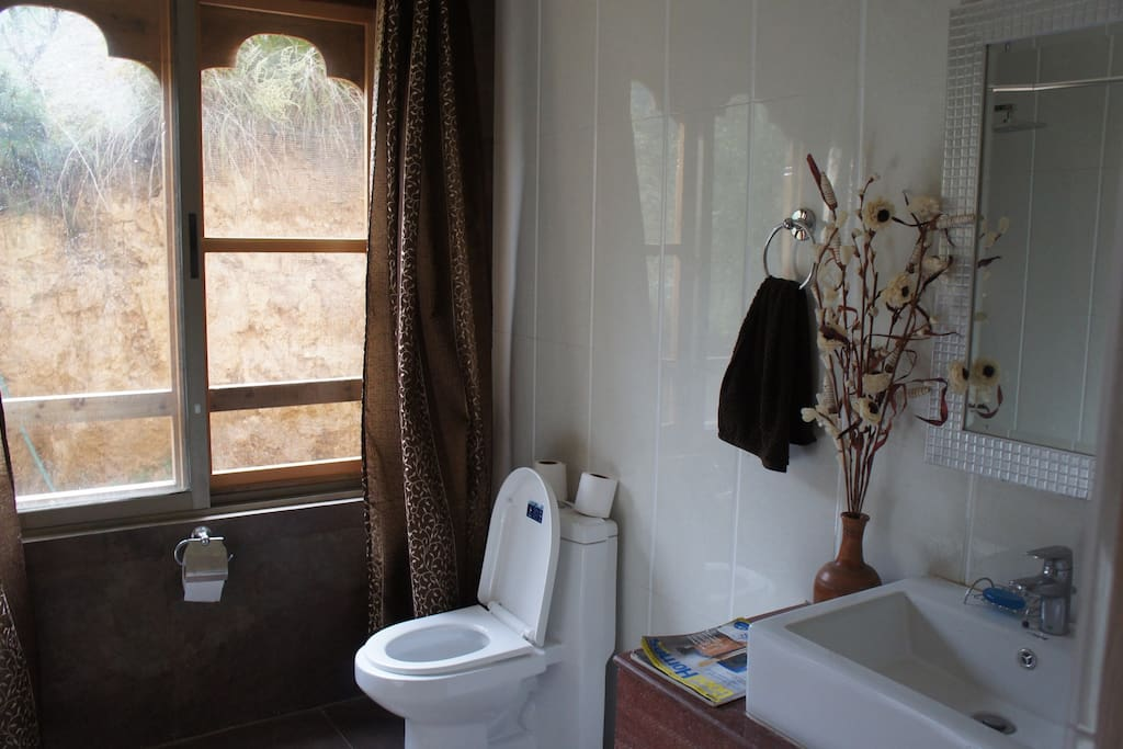 Shared Toilet with bath/shower Downstairs