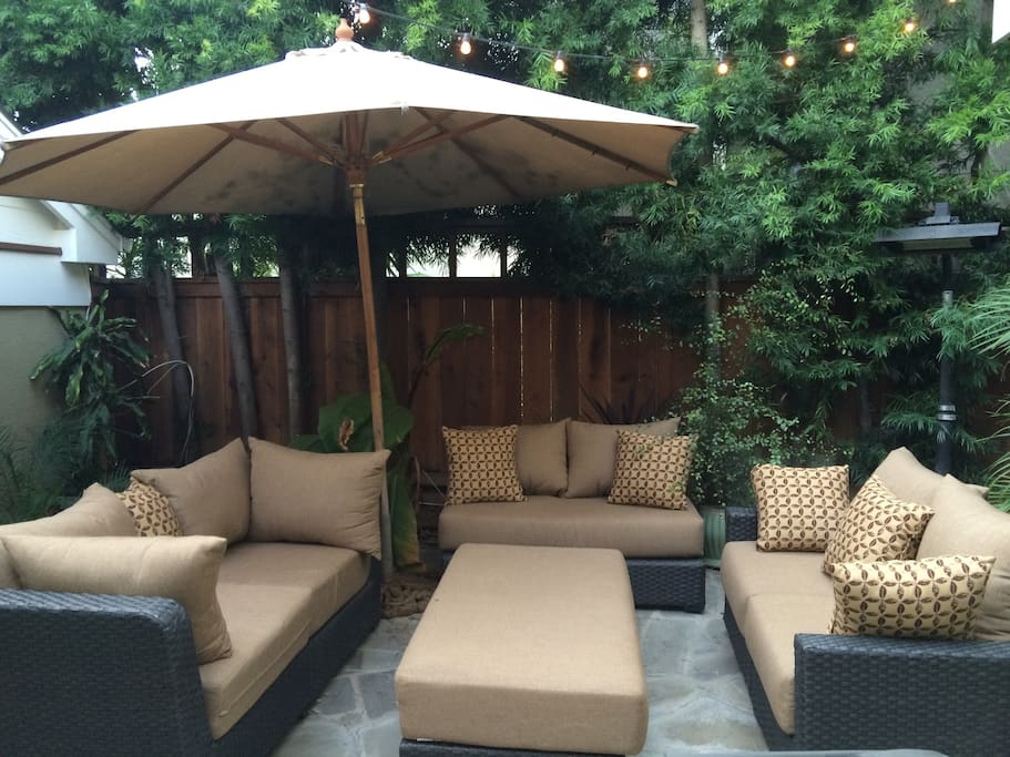 large secluded patio (rare this close to the beach) seats 8 around table + 14 close by