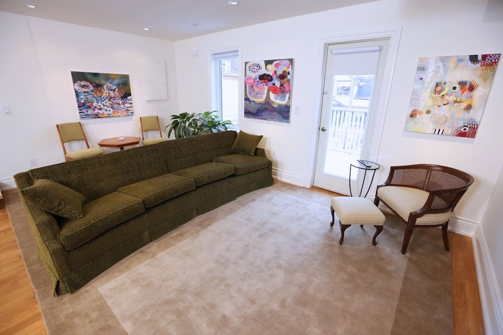 Spacious living room with sofa for 4 person TV viewing