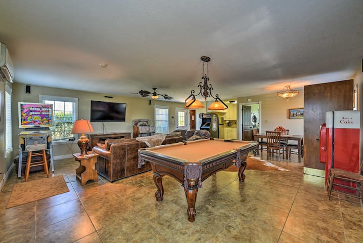 Built as a pool house, this 1-bedroom, 1-bathroom property has a game room.