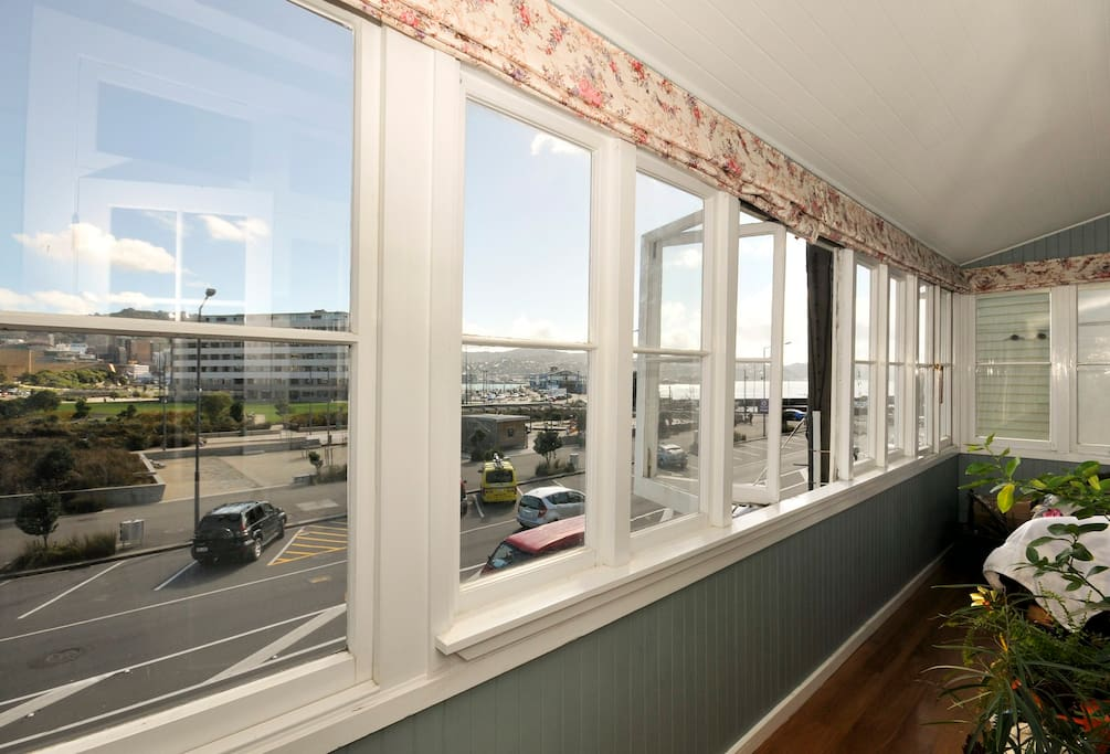 Sunroom with views across Waitangi Park and Te Papa
