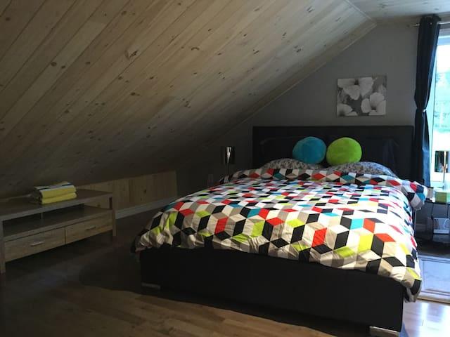 Chambre des maîtres avec un lit Queen et un lit simple