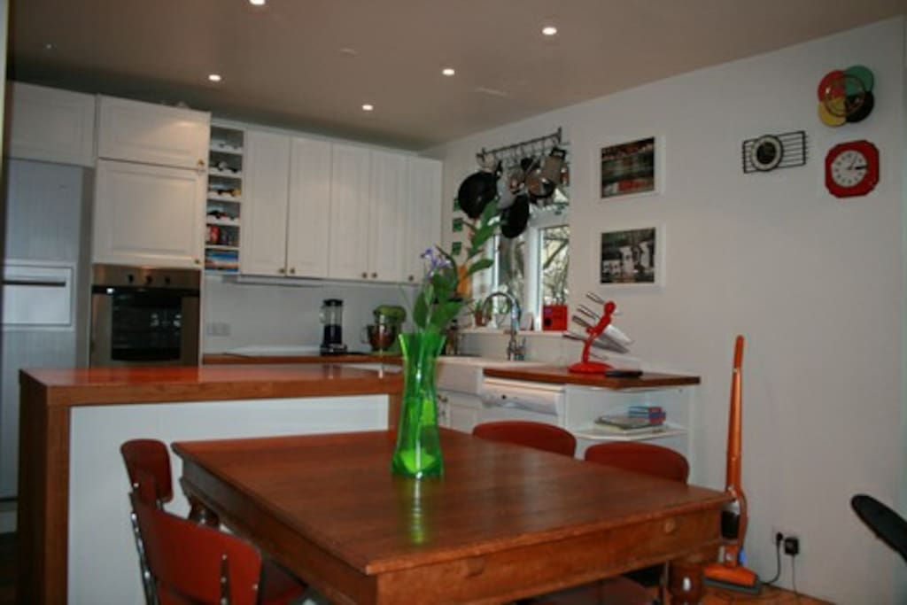 Dining room next to the kitchen. Good fridge and freezer. We are foodies so everything you need should be in the kitchen