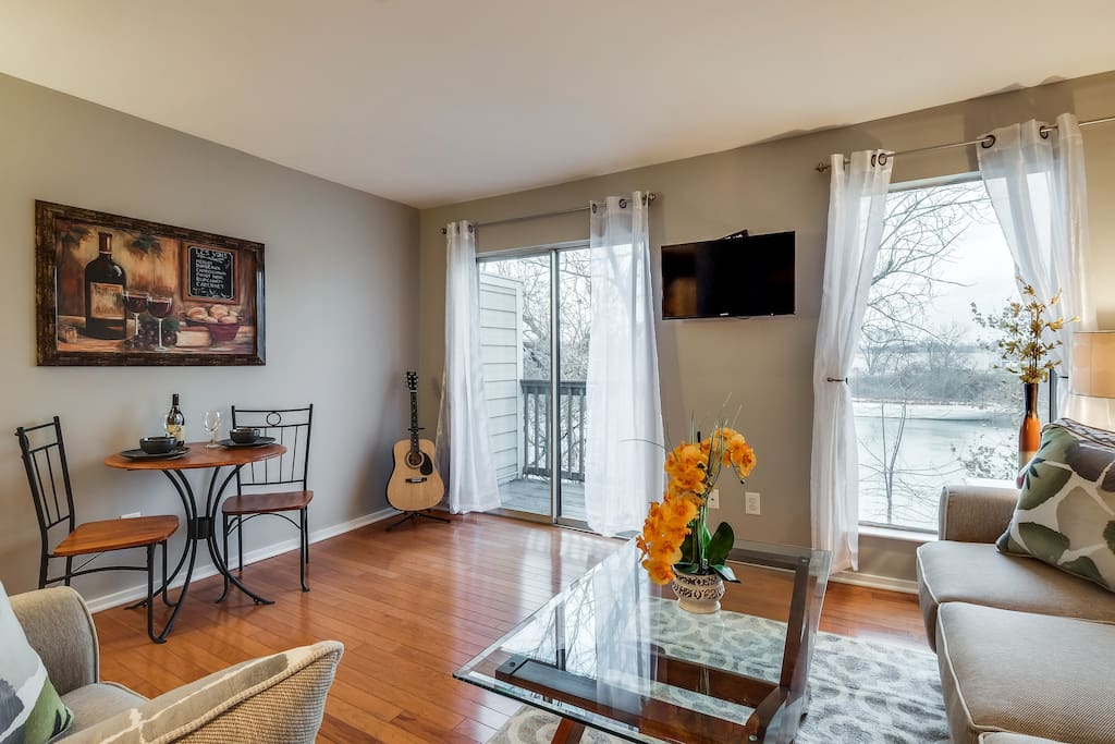 Living Room and Balcony overlooks the Cumberland River