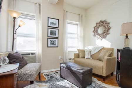 My cozy two bedroom apartment is centrally located within blocks of Times Square, Macy's, Penn Station, Chelsea, Hell's Kitchen, and more! Equipped with a doorman, elevator, gym, full kitchen and full bath - enjoy access to all major subway lines!