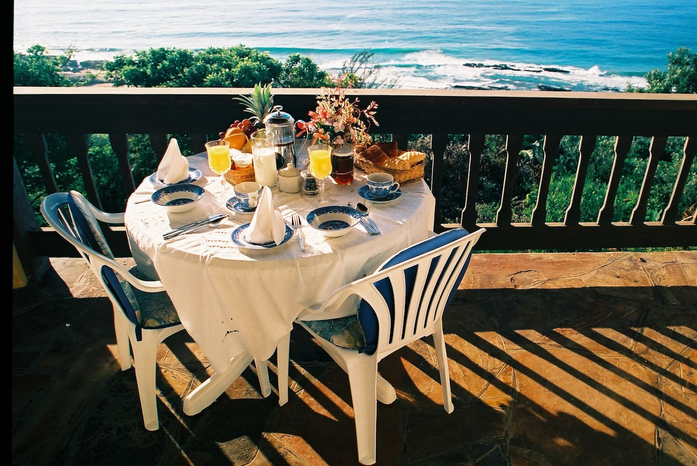 Full English Breakfast served on private  balcony with with stunning sea views