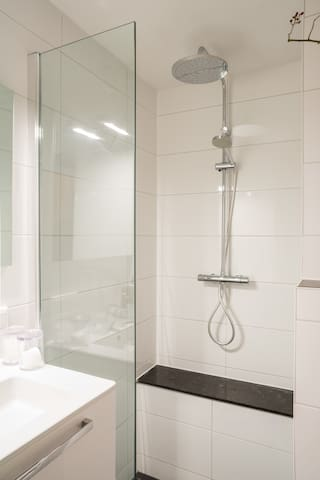 A brand new bathroom with rain shower, handheld shower, a comfortable ledge to relax on & enough fresh towels.