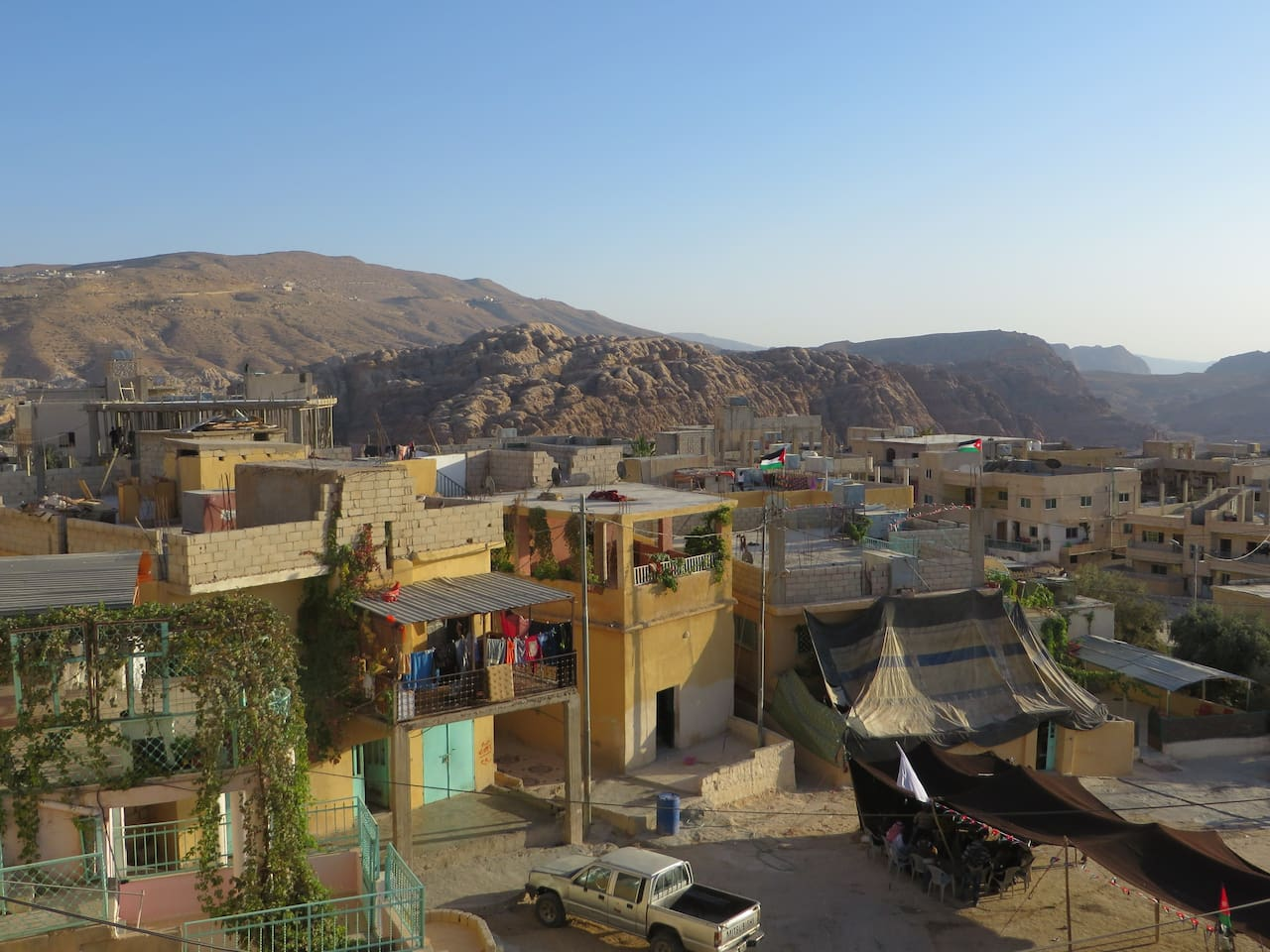 View on Petra and village square from balcony