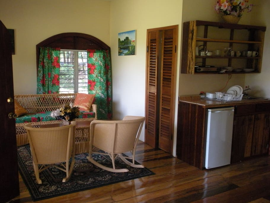 Sitting and kitchen area inside cottage