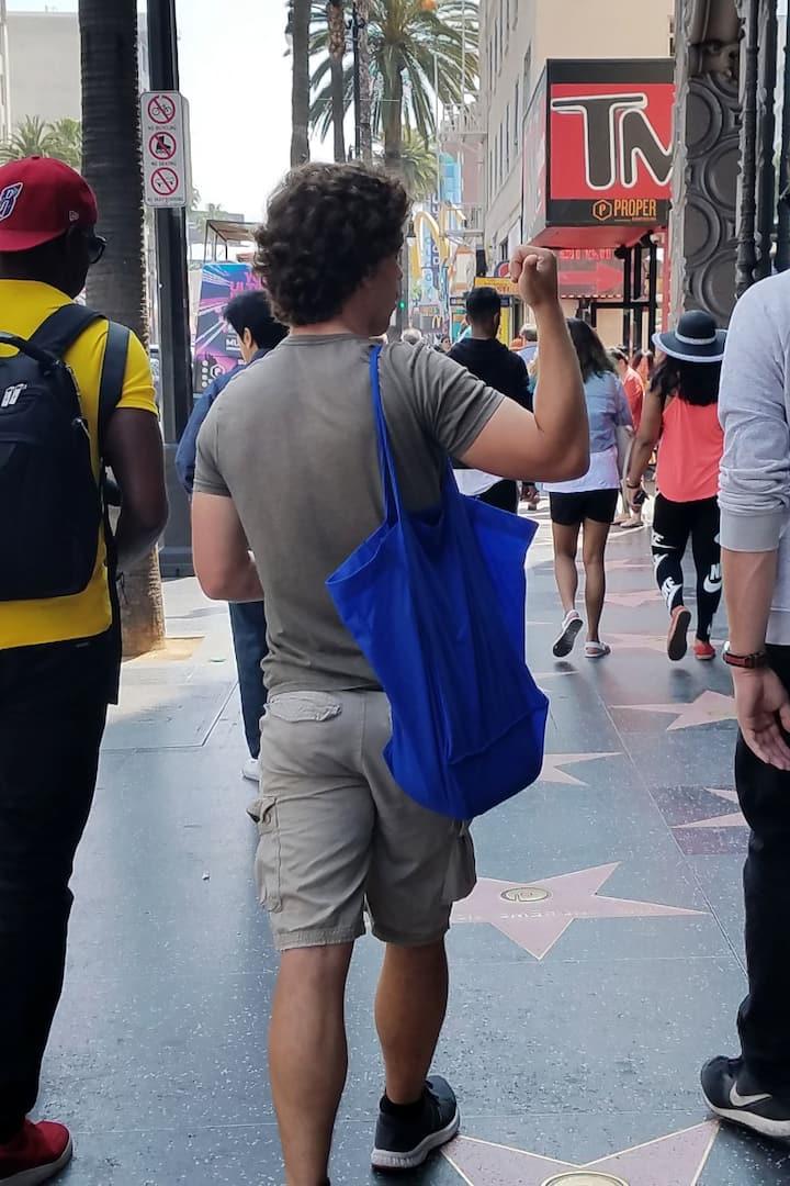 Walking down Hollywood Blvd
