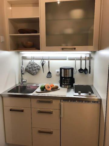 Aparthotel Christine (Bad Füssing), Einzelzimmer Parkblick (ca. 26qm) mit Küchenzeile