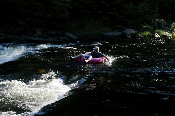 TUBING - One of our favorite pastimes on Big Wilson Stream - inner-tubing and kayaking. Be careful! Tobey Falls is a few miles downstream, and it's a section you'll want to portage around.