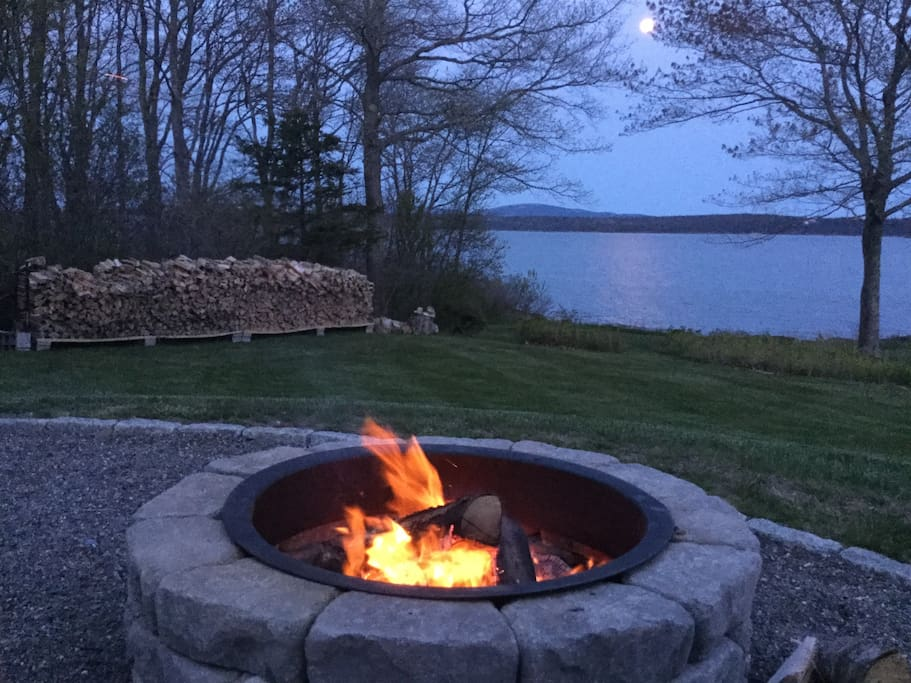 Fire pit with a full moon