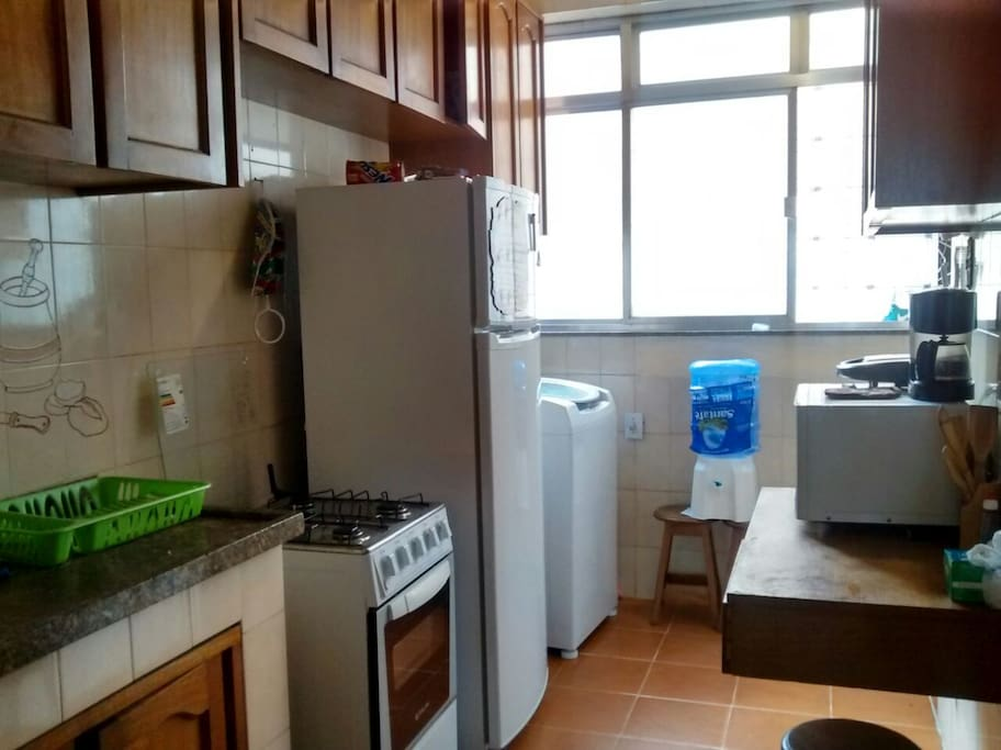 This is the kitchen, where you can use the oven, fridge, microwave, washing machine, and grill.