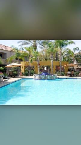 Resort-like on-site pool and hot tub