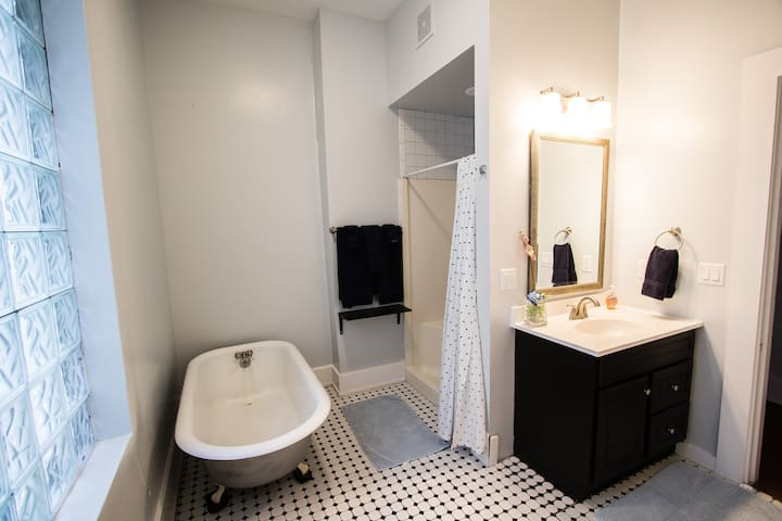 Huge bathroom with shower and clawfoot tub!