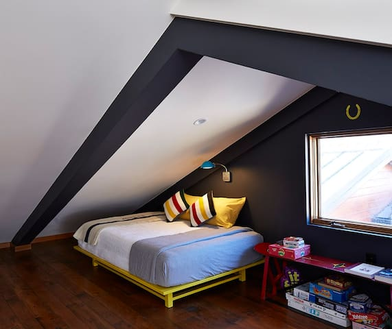 Attic bedroom (two full beds), 2nd floor.