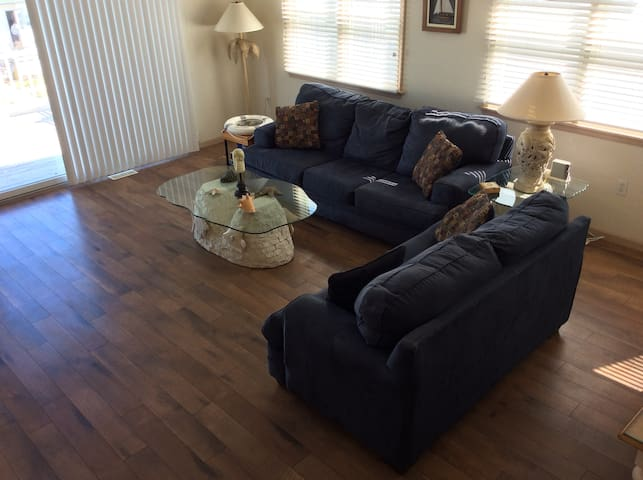 Family Room leads to large deck.