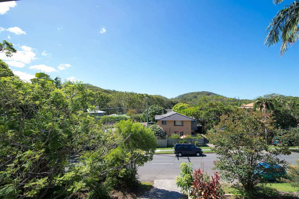 This is the view from the front verandah looking north toward Currumbin Hill and Mt Woodgee.