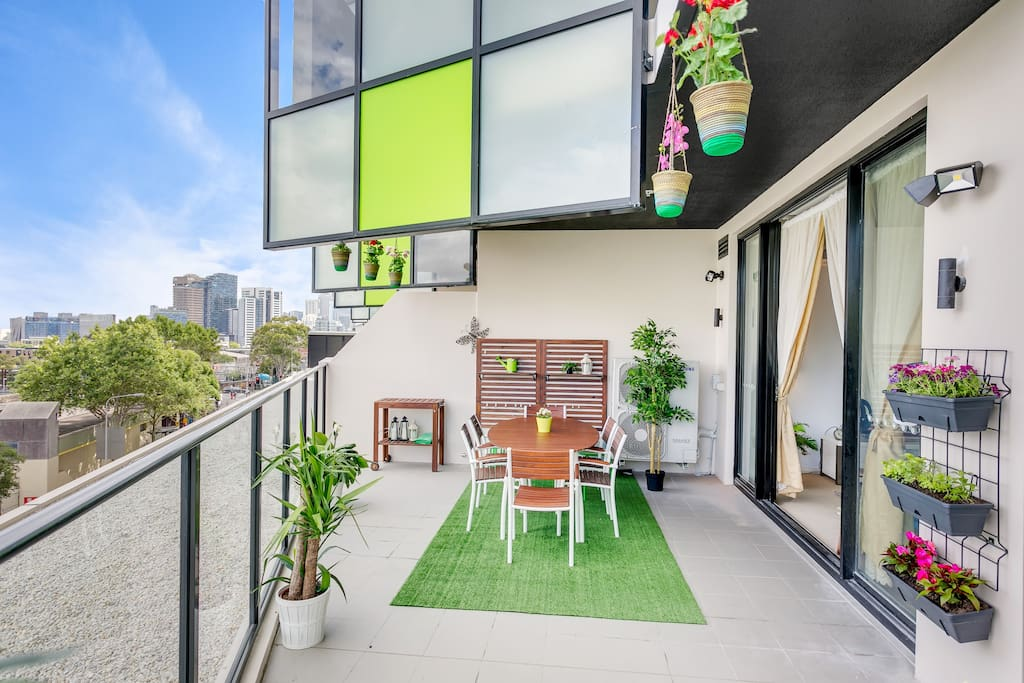 30 square meter balcony Overlooking Historic Redfern Station and Sydney CBD