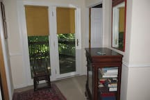 Doors leading to balcony off master