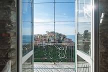the balcony with Amazing sea view and view of the village
