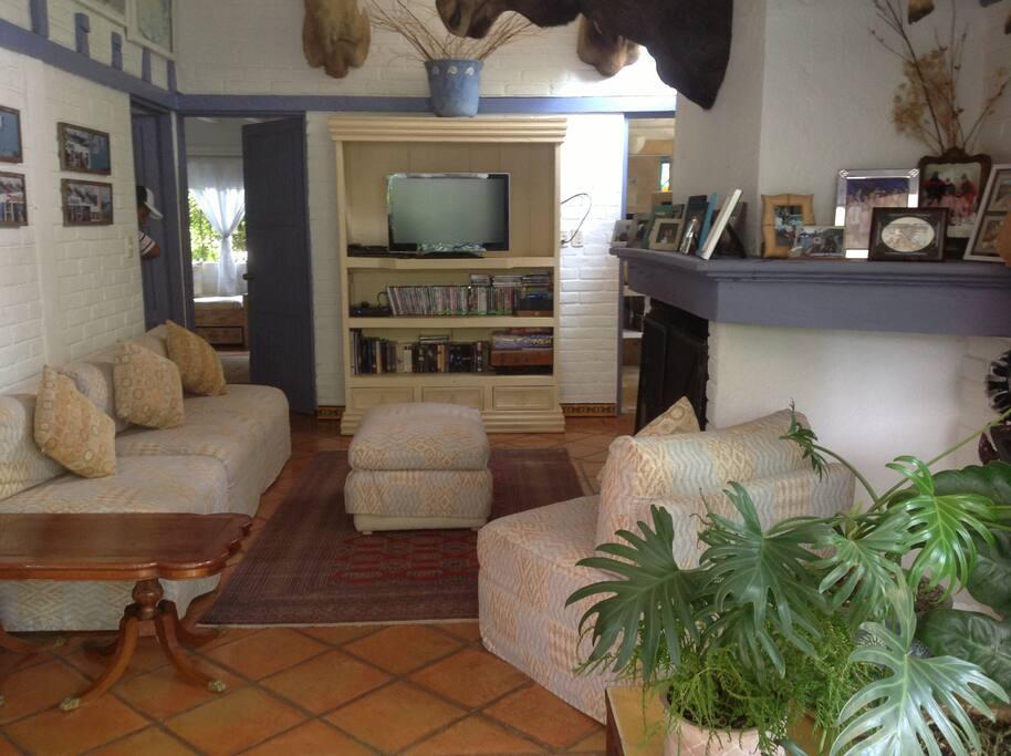 Sala con TV y chimenea