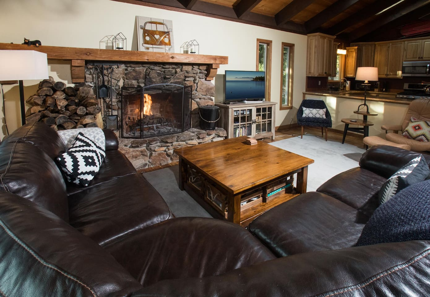 Couch fireplace and TV area