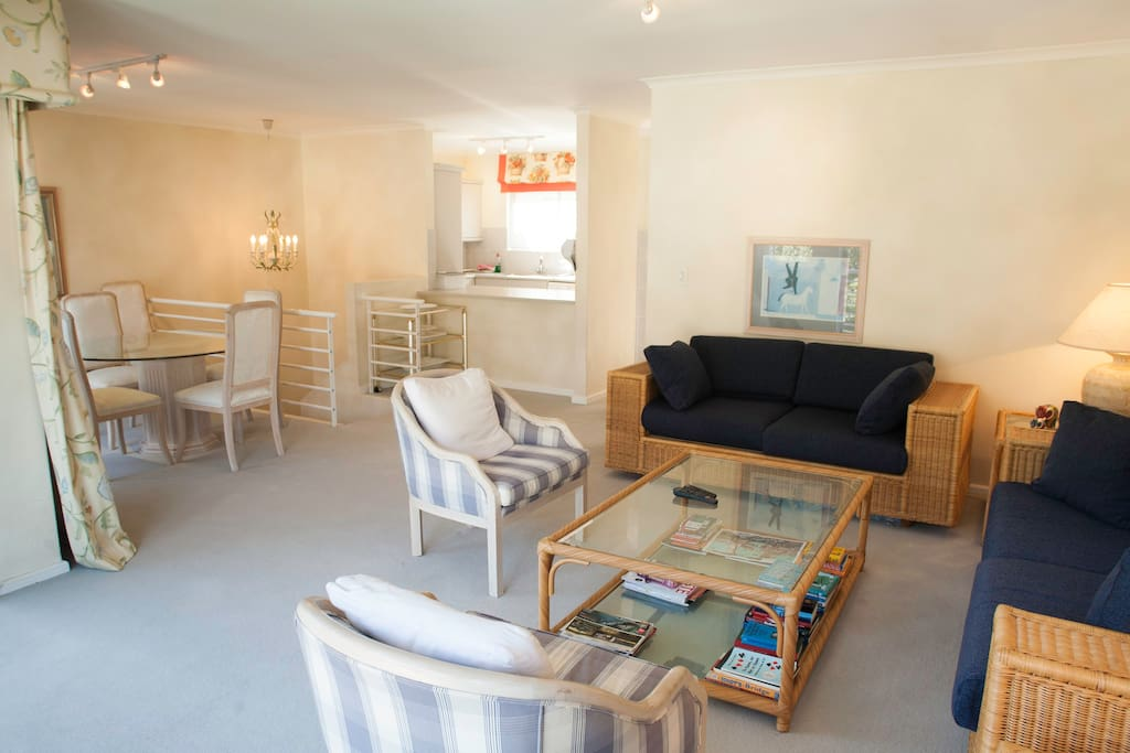 Spacious lounge and dining area upstairs leads into fully  kitted kitchen.