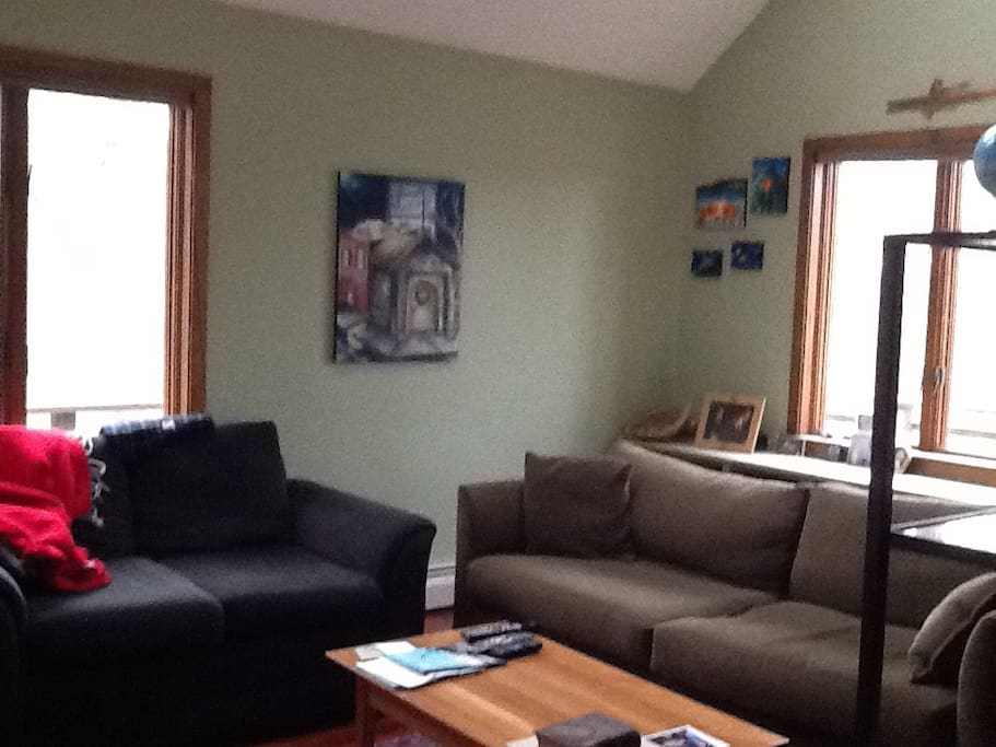 Living room with 52 inch flat screen tv with full cable lineup and Netflix