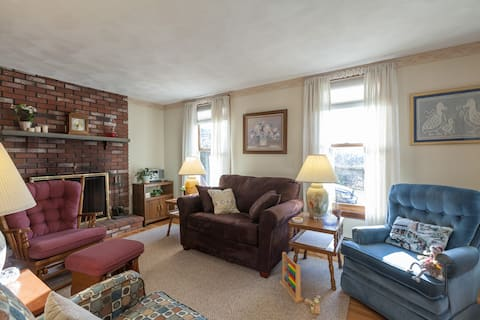 Pull-out sofa/love seat and 3 upholstered chairs in living area.