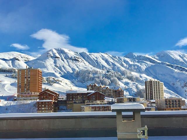App. T2 42m2 + terrasse 34m2 plein Centre et Piste - Orcières - Apartment
