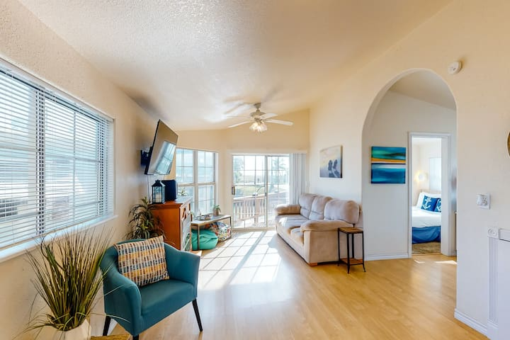 Dog-friendly, waterfront getaway w/ central A/C, shared pools, & sports courts