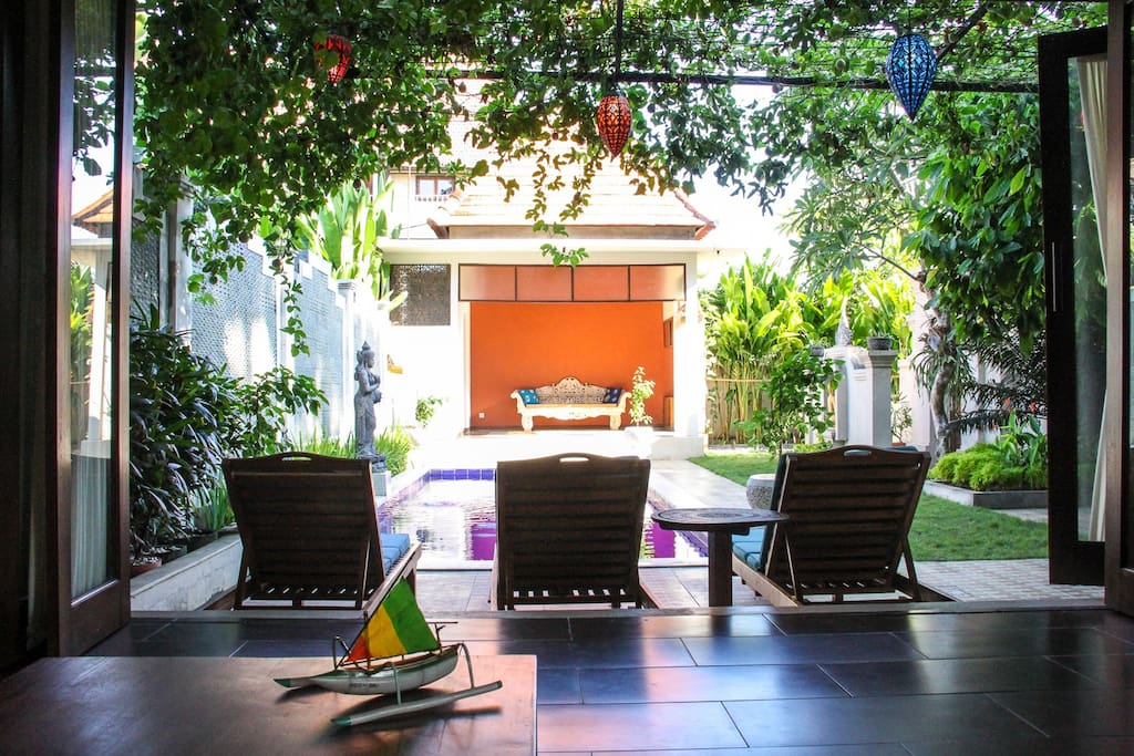 Our favorite spot to lounge around under the shade of the passion fruit arbor.