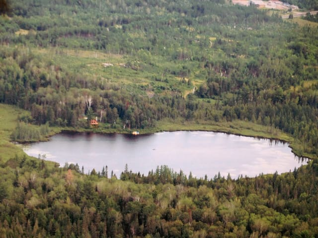 arial view of the private property at Wahlstrom lake (Holtrop Cabin) on 80 acres with 18 acre lake