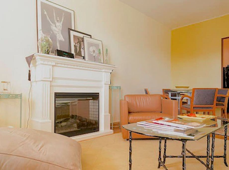 Electric fireplace adds warmth and charm - romantic!