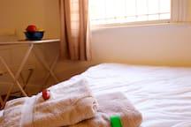 Towels, hair dryer, lockable room.