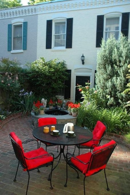 Guests are welcome on the backyard patio!