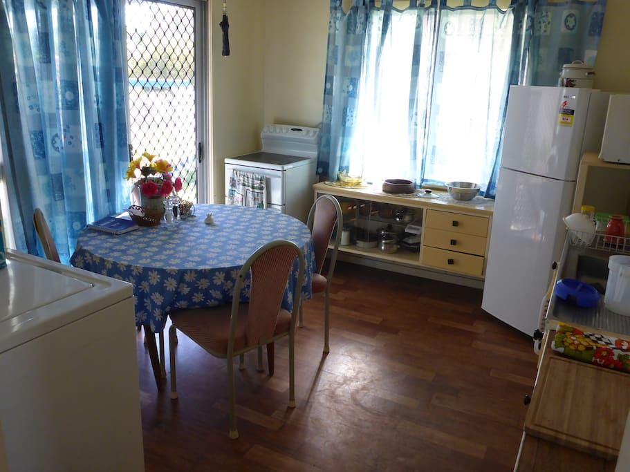 Combined Kitchen & dining, with stove, fridge/freezer microwave