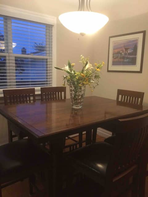 Dining room - dining table with six chairs.