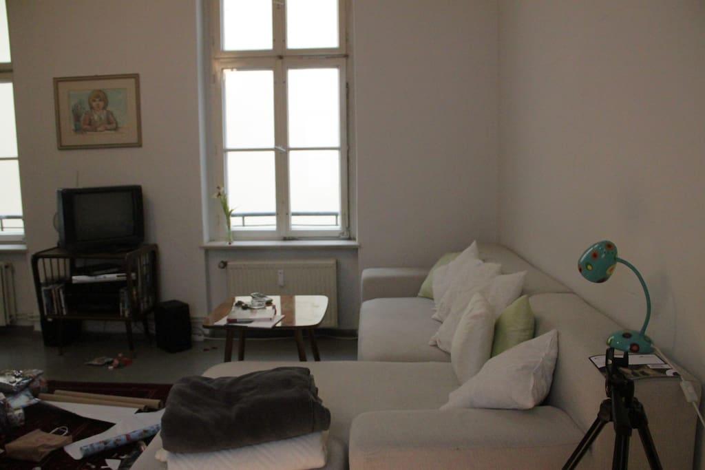 Wohnzimmer mit großem, gemütlichem Sofa
