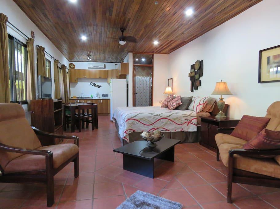 El Gekko large studio with King bed, Kitchen, A/C, Pool side, WiFi.