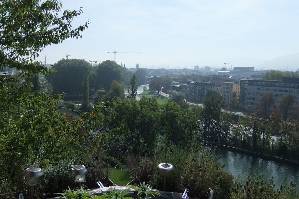 The beautiful view from the balcony, over looking the 2 rivers of Zurich.