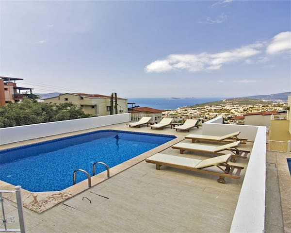 """White Dream 1 """" with Majestic Views Overlooking Kalkan Bay and Harbour"""""""