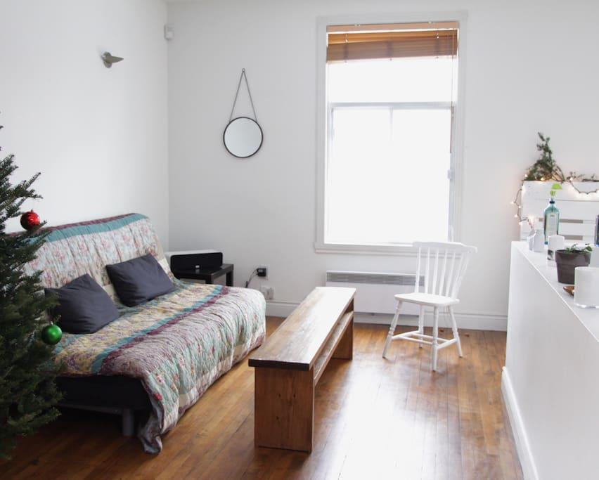 Un espace salon cosy avec un canapé lit