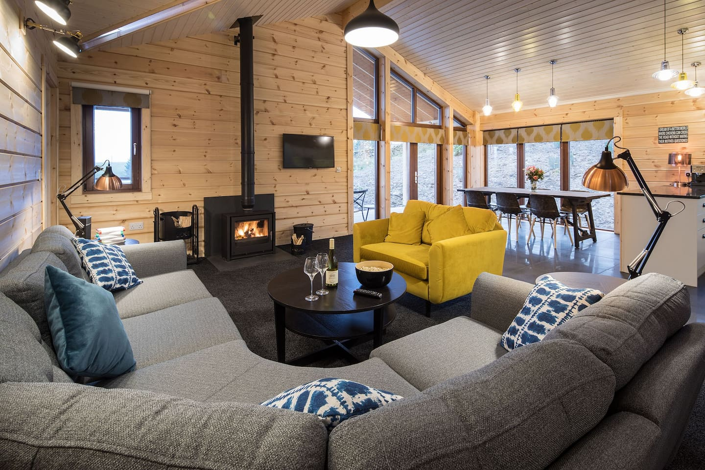 Exclusive Luxury Log Cabin, enjoy stunning mountain views, open fires and country walks, spaciously set in 7 acre private grounds in the Lake District and Yorkshire Dales National Park