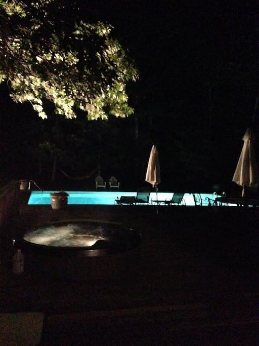 Relaxing swim/Jacuzzi at night